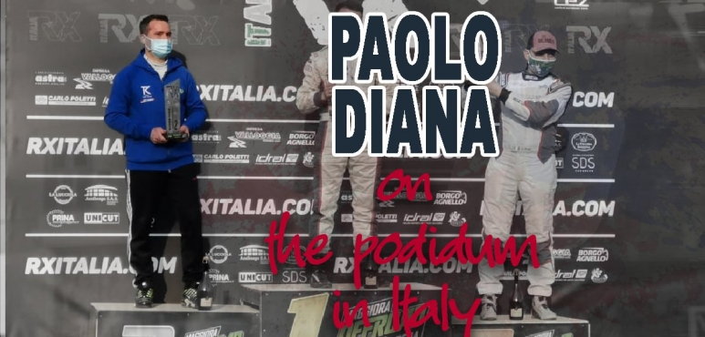 Rally driver Paolo Diana on the podium